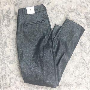 WHBM NWT Black/Silver Shimmery Slim Ankle Pants